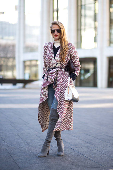 how to layer, blanket coat, belted jacket, printed statement coat, turtleneck, layering, knee high boots, over the knee boots, winter outfit, weekend outfit