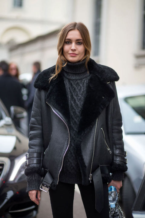 shearling, turtleneck sweater, all black
