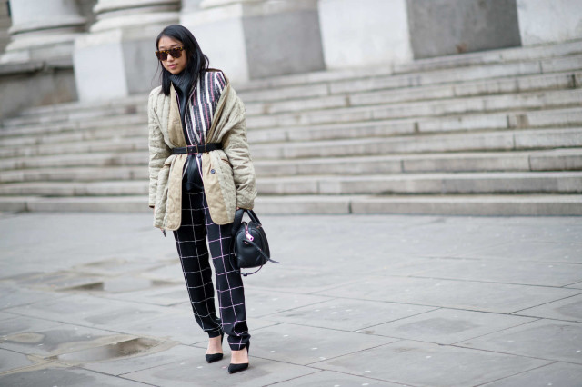 lfw, belted coat, printed pants, windowpane prints, mixed prints