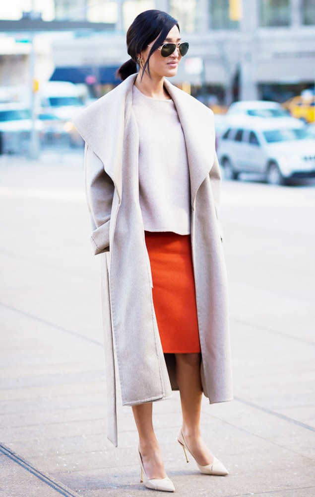 orange, spring, transitional dressing, white pumps, drapey coat, blush, greige