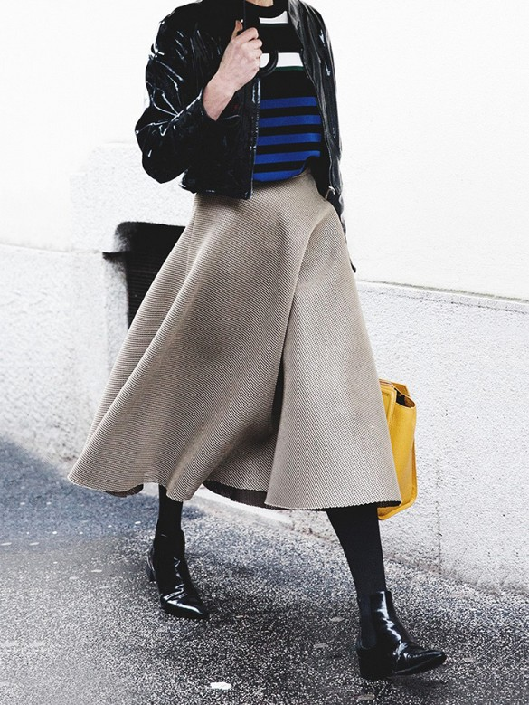 midi skirt, rain boots, ankle boots, black leather jacket, striped sweater, layers, winter, street style