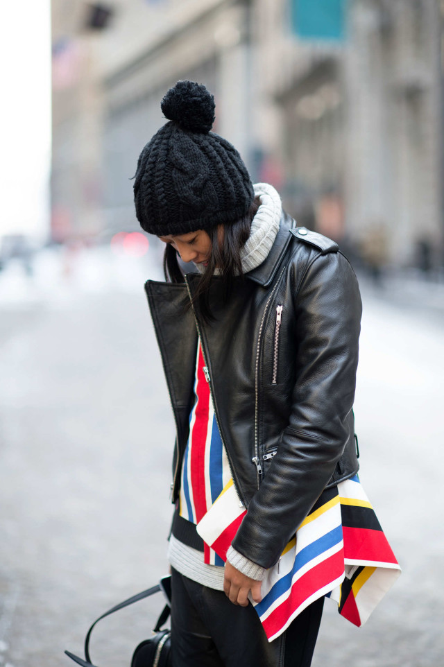 lfw, margaret-zhang, black leather moto jacket, stripes, colorful, winter to spring, pom pom hat