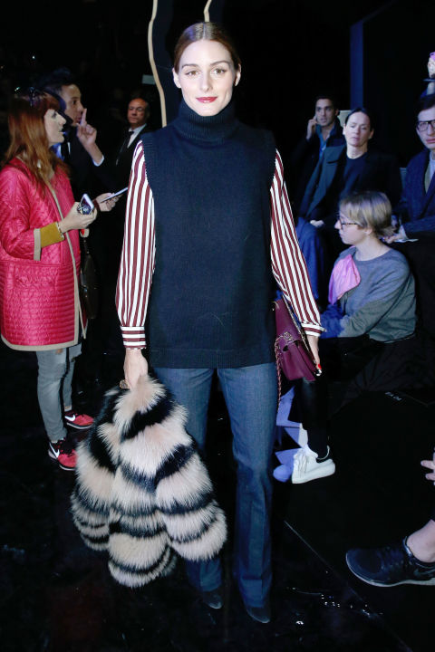 pfw-olivia-palermo-wide-leg-jeans-flares-turtleneck-sweater-vest-striped-oxfords-fur-jacket-70s-boho-via-bazaar
