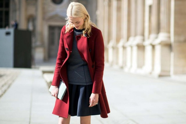pfw-red-coat-black-mini-skirt-grey-sweatshirt-black-and-grey-