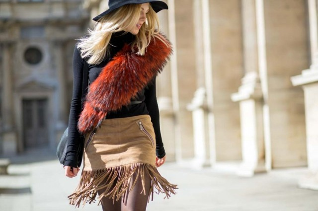 pfw-suede-fringe-mini-skirt-fur-scarf-wide-brim-hat-70s-boho-via-the styleograph