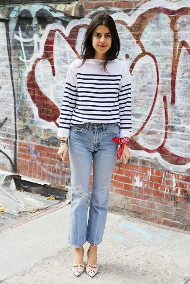 stripes-striped-tee-cutoff-cropped-jeans-frayed-denim-bandana-style-hacks-scarf-wrist--man-repeller-leandra-medine-via-www