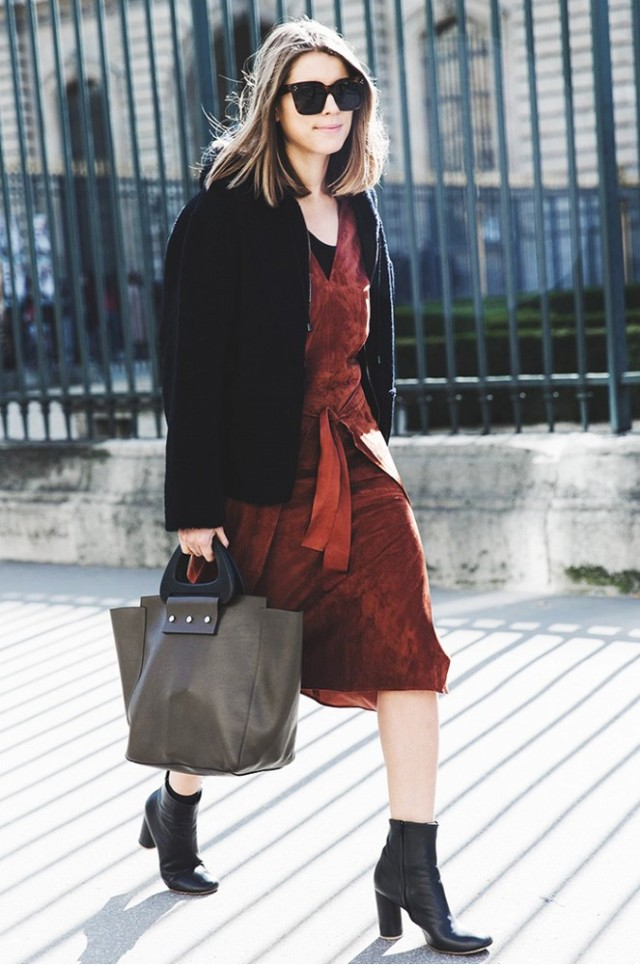 how to wear brown and black, suede-ankle-boots-street-style-fall-spring-via-collage vintage