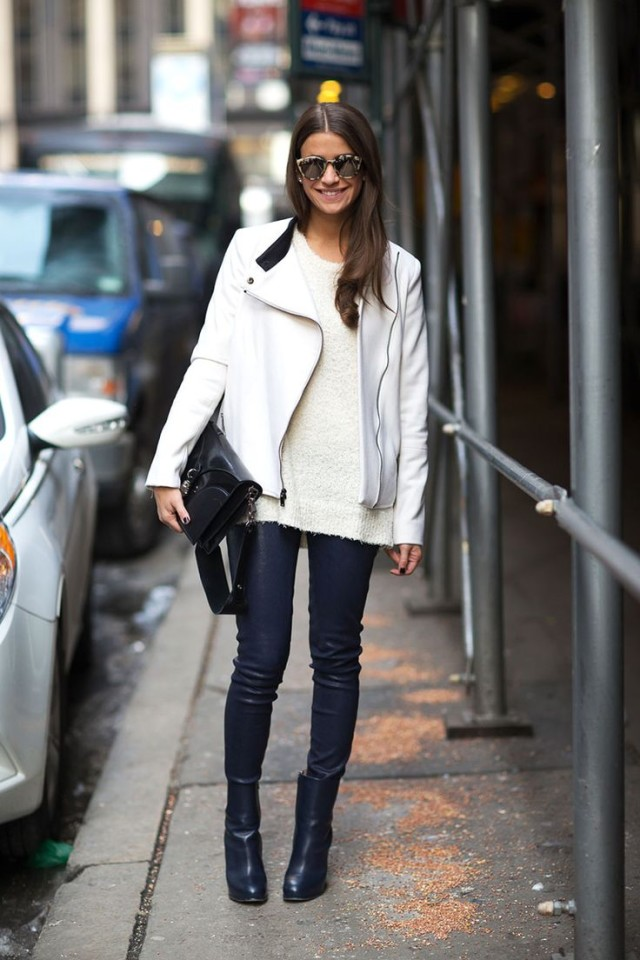 black skinnies, white moto jacket, black and white, leather pants, booties, editor style, amanda weiner