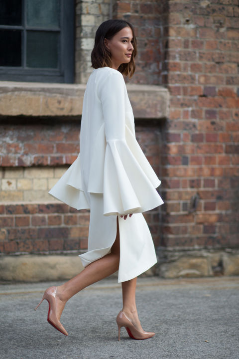 white dress, bell sleeves, work, night out, party, wedding