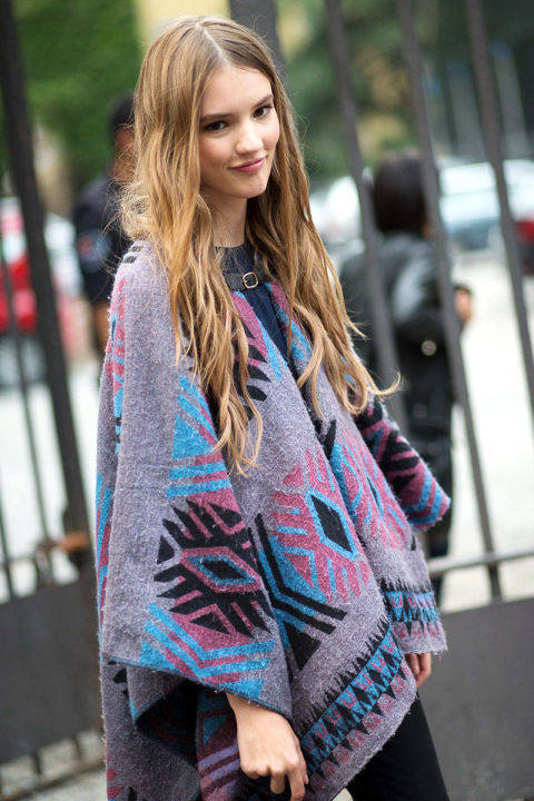 poncho, milan fashion week, model off duty style, boho, fall trends