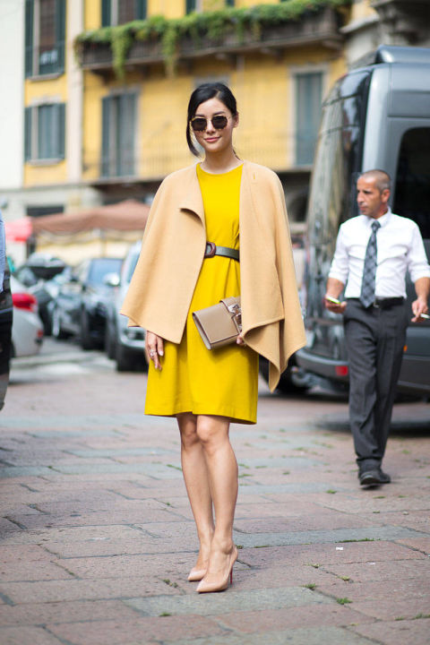 yellow, poncho, blanket coat, wrap, camel