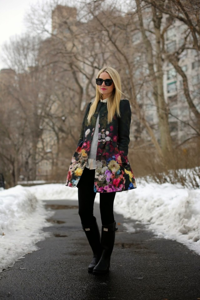 rain, spring, floral coat, statement coat, wellies, rain boots