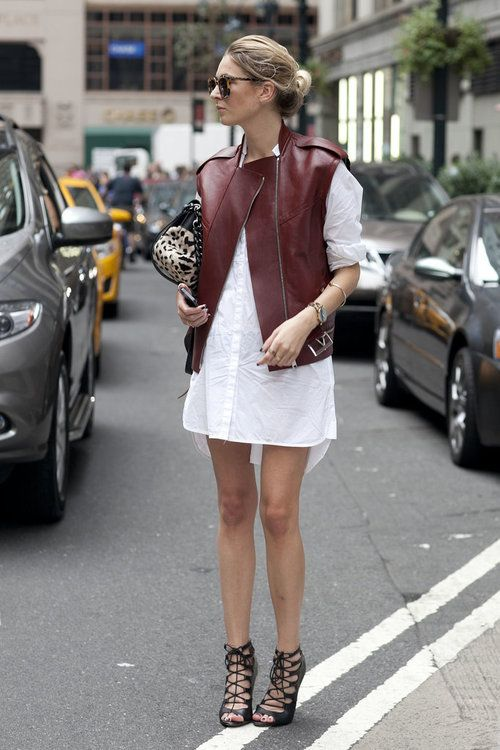 white shirt dress, spring, lace up cage heels, leather vest, moto vest, burgundy, oxblood, marsala, going out, work, night out, fall, spring outfits