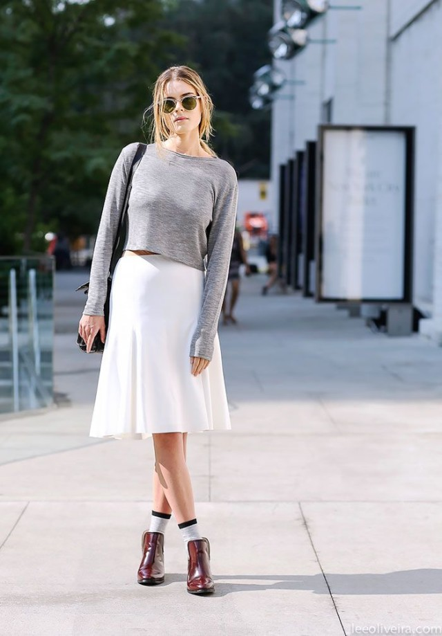 socks and booties, spring, crop top, midi skirt, flouncy midi, white skirt