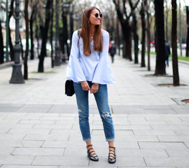 bell sleeves trumpet sleeves-cuffed jeans-ballet flats-buckle flats-via