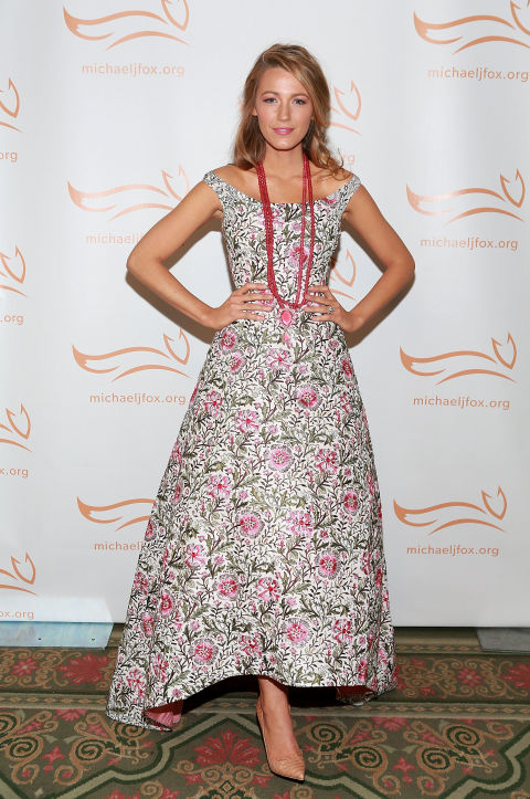blake-lively-wedding-spring-floral-dress-tea-length-off-the-shoulder-evening-gown-via-getty