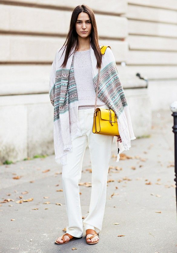 scarf, white pants, spring, yellow bag