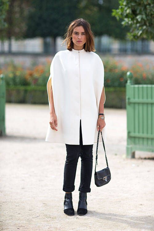 black and white, poncho, work, ankle boots, rolled pants