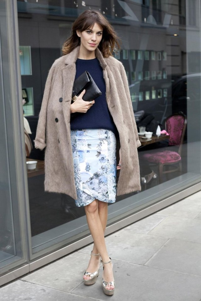 easter-alexa-chung-floral-pencil-skirt-grey-greige-coat-furry-coat-navy-oversized-sweater-brunch-work-shower-alexa-chung-via-nymag.com