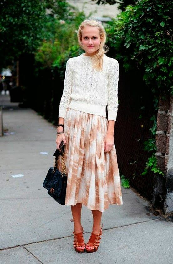 easter-brunch-whtie-fisherman-sweater-printed-midi-skirt-sandals-mary-kate-steinmiller-via-whowhatwear