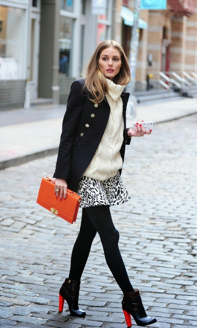 sweaters and skirts, fall winter outfit, animal print skirt, tights, pea coat, turtleneck sweater, olivia palermo, black booties