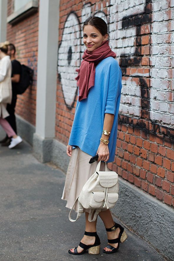 easter-pastel-blue-sweater-sweater-over-dress-oversized-sweater-sandal-wedges-maria-duenas-editor-style-backpack-via-thesartorialist.com