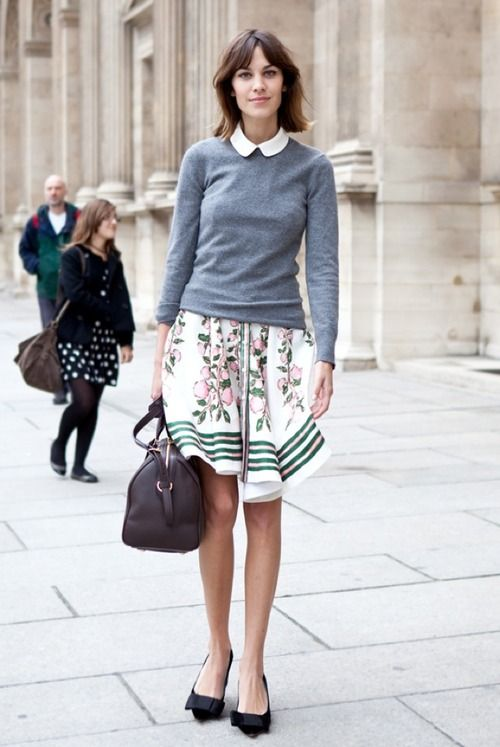easter-peter-pan-collar-floral-full-skirt-bow-flats-grey-sweater-preppy-classic-girly-easter-brunch-spring-work-alexa-chung-via-matchbookmag.tumblr.com