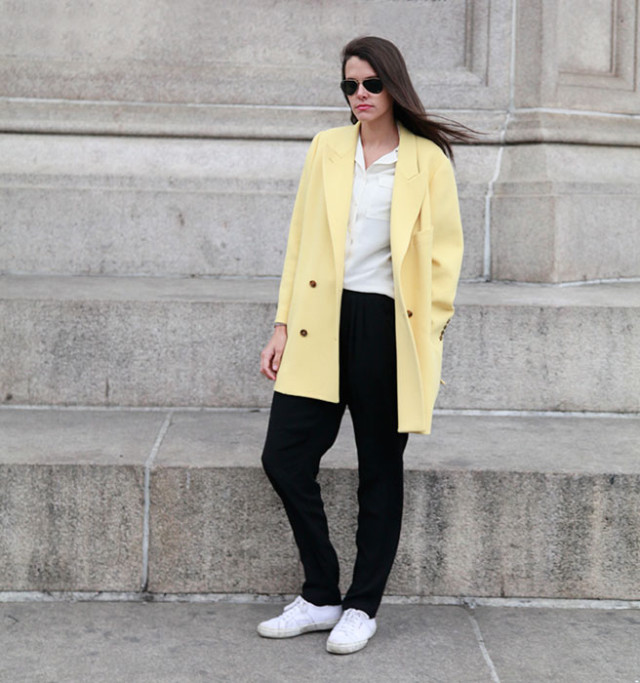 yellow, sneakers, black pants, white oxford, nathatlie matthews