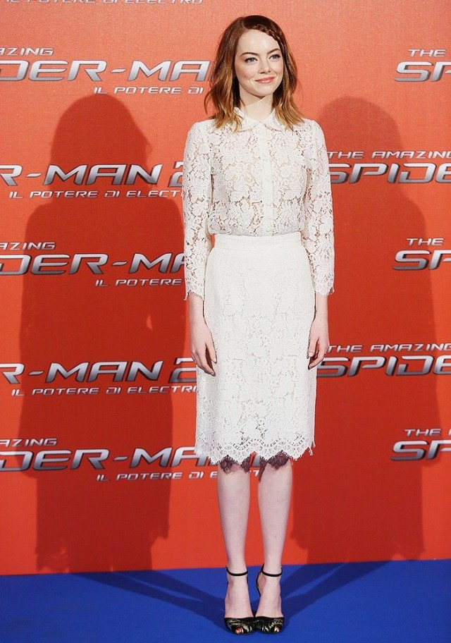 emma-stone-white-lace-pencil-skirt-blouse-via-getty