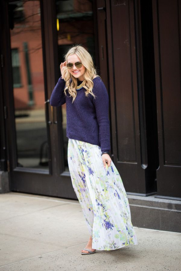 floral-maxi-skirt-navy-sweater-sweaters-and-skirts-via-bowsandsequins.com