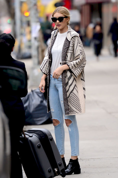 gigi-haddid-weekend-style-aztek-blanket-coat-distressed-denim-holey-jeans-white-tee-chelsea-boots-casual-via-popsugar
