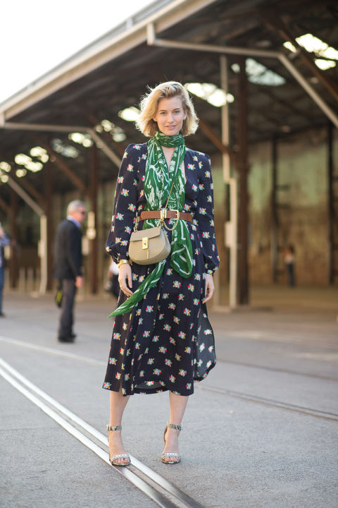 belted scarf, printed dress, spring dress, chloe bag