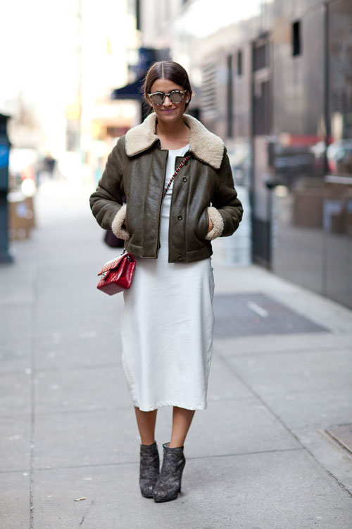 amanda weiner, spring, fall, shearling bomber jacket, brown leather jacket, white midi dress, winter whites, dresses and booties, ankle booties, red bag, mini bag