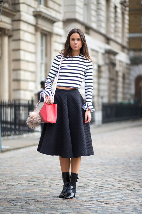 stripes, crop top, midi skirt, moto boots, spring
