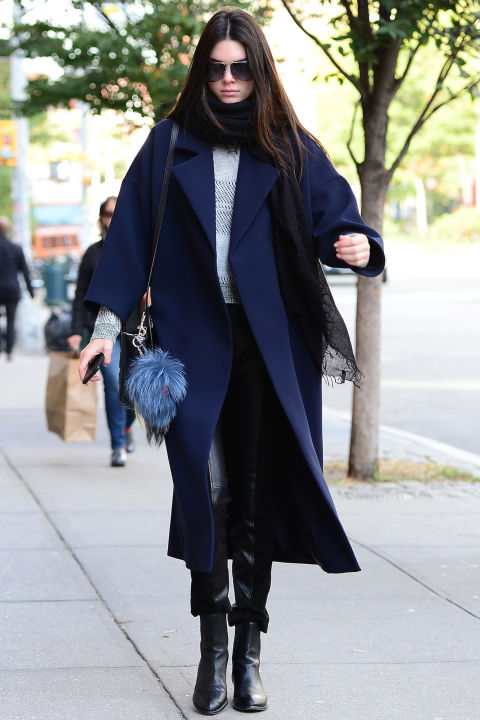 chelsea boots, winter outfit, ankle boots, booties, kendall-jenner-black-and-white-chelsea-ankle-boots-navy-long-coat-oversized-coat-pastel-blue-furry-bag-model-off-duty-style-neutrals-fall-spring-winter-