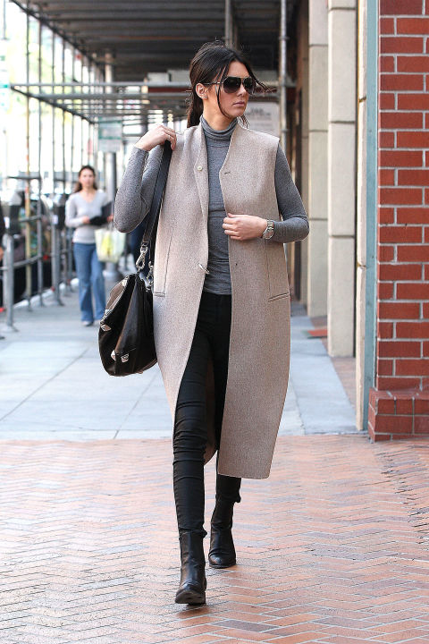 chelsea boots, winter outfit, ankle boots, booties, kendall-jenner-grey-turtleneck-black-skinnies-chelsea-boots-long-vest-sleeveless-jacket-fall-spring-neutrals-chic-work-modern-model-model-off-duty-style