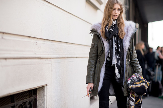 lfw-fur-parka-coat-scar-moel-style-black-pants-via-elle