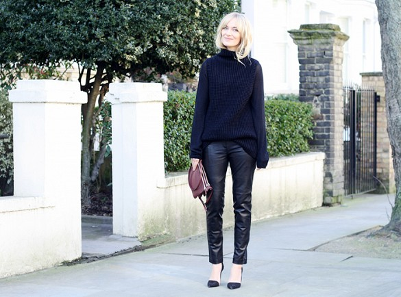 black leather pants, all black, pumps, black sweater, classic, work, spring, fall, winter
