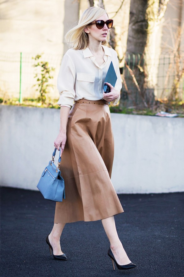 midi skirt, leather midi skirt, classic,s ladylike, work, jane keltner, white blouse, black pumps, editor style