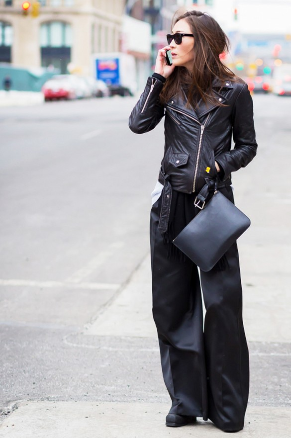 lack wide leg pants, black leather moto jacket, all black, spring, work, fall