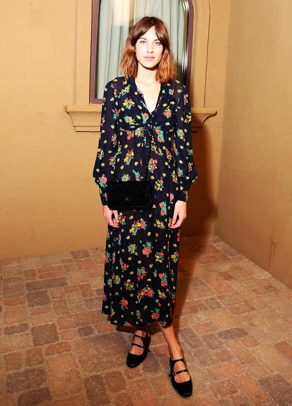 alexa chung, maxi dress, florals, floral prints, spring, party, event, going out, brunch