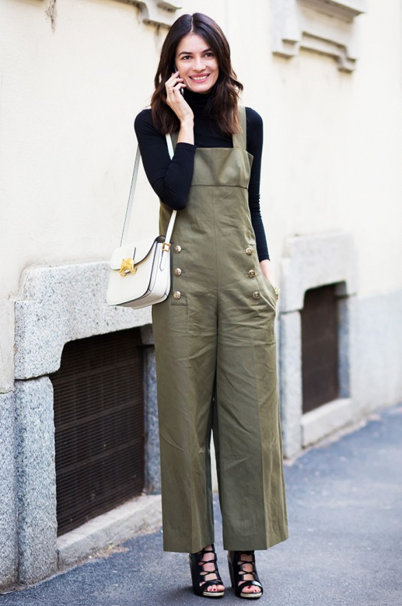 overalls, army green, turtleneck, spring, fall, white bag