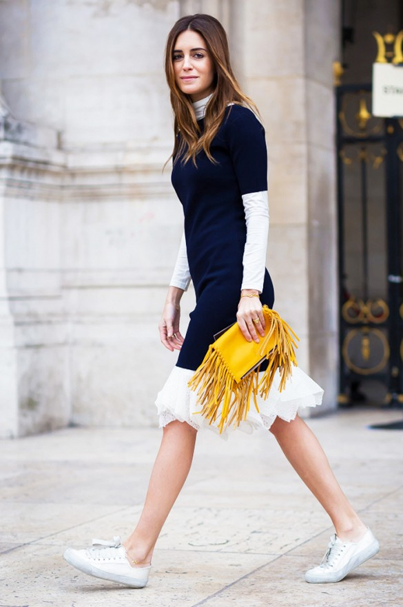 sweaters over skirts, turtleneck, sneakers, white sneakers, fringe bag, yellow, spring