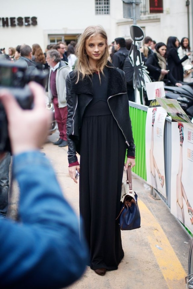maxi-and-moto-how to wear a maxi dress in winter, navy and black