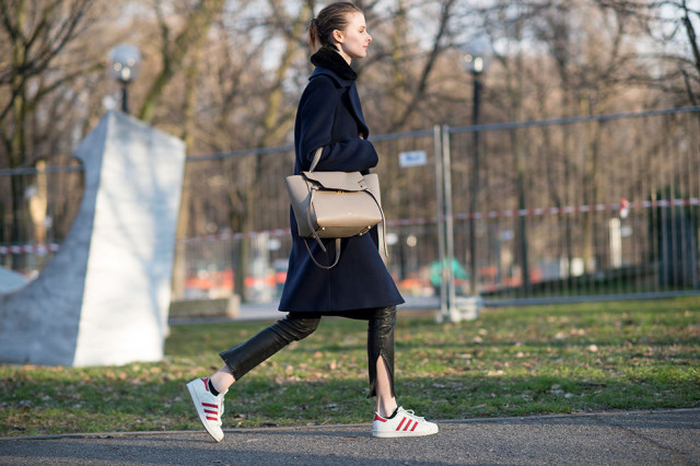 mfw-navy-coat-leather-pants-adidas-sneakers-via-elle