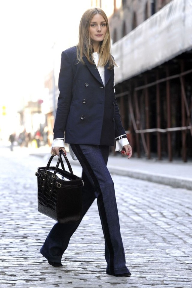 navy-pea-coat-denim-flares-tuxedo-pants-track-stripes-olivia-palermo-work-spring-via-hbz