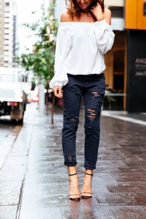 off-the-shoulder-black-distressed-denim-black-and-white-spring-going-out-evening-via-theyallhateus.com
