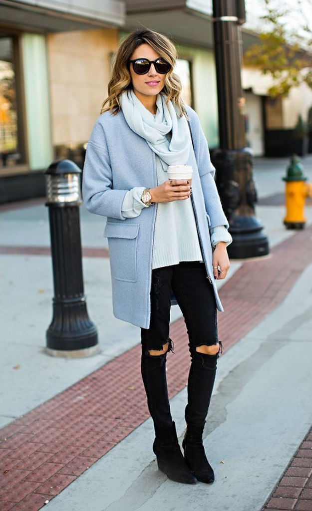 pastel-blue-coat-black-jeans-weekend-work-via-stylecaster-spring