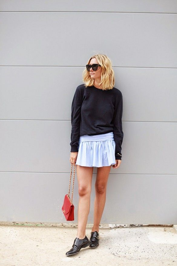 pastel-blue-mini-skirt-sweatshirt-sweater-black-loafers-patent-leather-buckle-loafers-red-bag-spring-weekend-date-night-otu-via-www