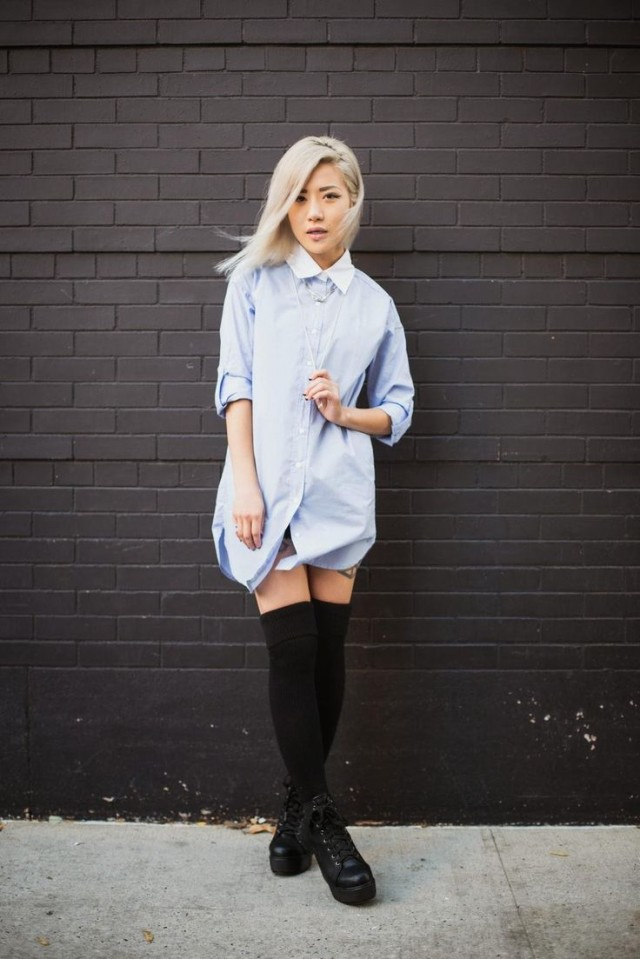pastel-blue-shirtdress-knee-high-sociks-lace-up-boots-via-stylecaster-spring-work